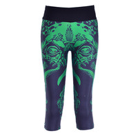 Fitness Capri Pants Female Workout Leggings Gym Yoga Sport Trousers Run Training Women Seven Black Green