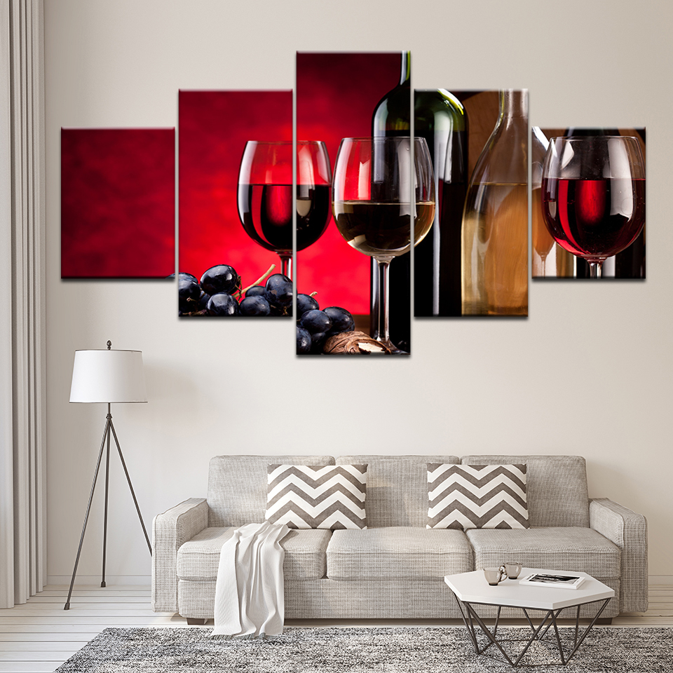 Us 5 59 43 Off Canvas Painting Wine Grape Free Shipping 5 Pieces Wall Art Painting Modular Wallpapers Poster Print For Living Room Home Decor In
