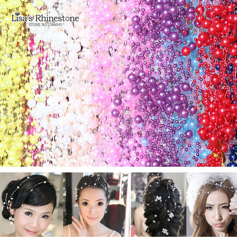 5m 4pcs/lot 17Colors Fishing Line Artificial Pearls Beads Chain Garland Flowers For DIY Wedding Party Decoration Products image