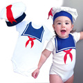 2017 New Summer Navy Baby Rompers + Hat Set Cotton Short-sleeved Newborn Jumpsuits Baby Clothing Infantil Menino