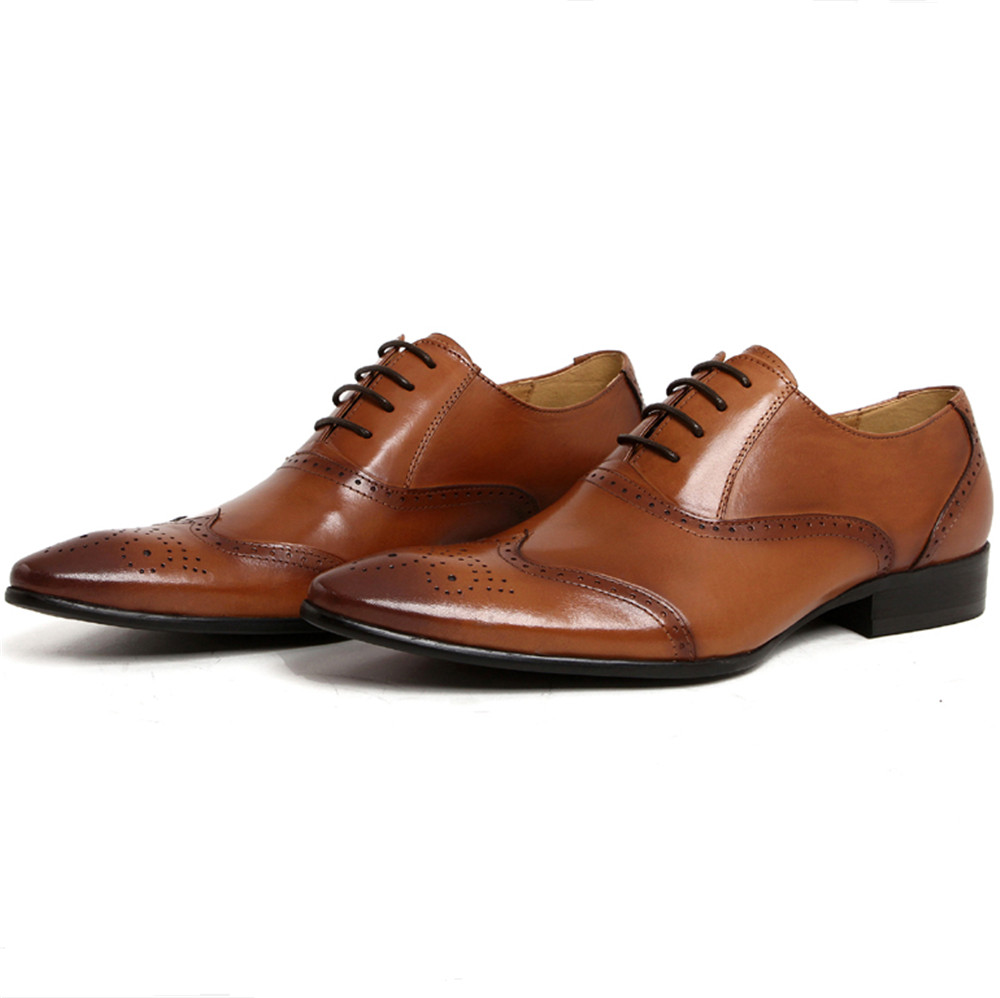 Quality Black / Brown Formal Dress Shoes Mens Oxfords Shoes Genuine Leather Brogues Business Shoes Male Wedding Groom Shoes top quality business men cow real leather shoes black brown oxfords for man work dress footwear wedding formal shoes