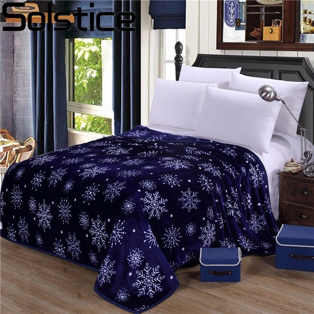 Solstice Home Textile Winter Thicker Winter Blankets Blue Snowflake