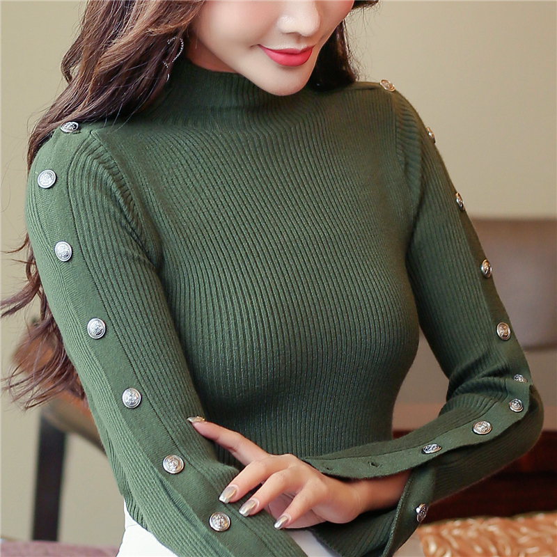 Korean Sweater Jumper Women Pullovers Knit Shirt Stretched Bottoming Slim Tops Button Sleeve Autumn Winter Clothes Women C91405