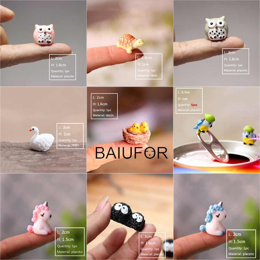 BAIUFOR Super Mini Animals 1 Fairy Garden Miniatures diy Terrarium Figurines Micro Moss Landscape Decor Doll house Accessories