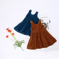 Retail Children Girl Autumn Corduroy Cotton Dress Vintage Baby Girl A Line Princess Dress High Quality