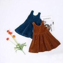 Retail Children Girl Autumn Corduroy Cotton Dress font b Vintage b font Baby Girl A Line