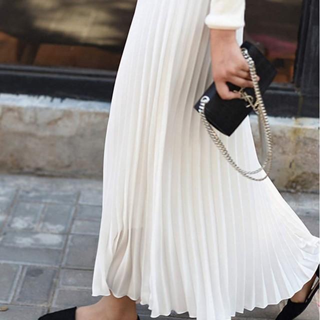 Autumn Fashion Long Pleated Skirt Womens European Style Solid Elegant Midi Elastic Waist Skirt Droppship 10 Colors Freeship 6
