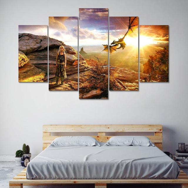 Wall Art Poster Home Decoration Modern Canvas 5 Panel Game Of Thrones For Living Room HD Print Painting Modular Pictures Frame