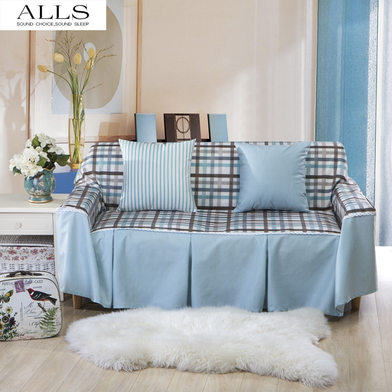 Popular blue plaid couch buy cheap blue plaid couch lots - Plaid para sofa ...