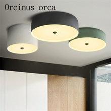 The Nordic minimalist led circular ceiling lamps living room warm modern Macarons candy colored free shipping
