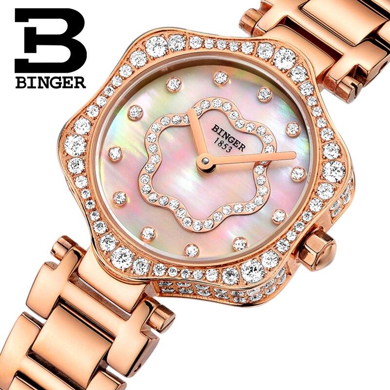Schweiz BINGER frauen Uhren Luxus Marke Quarz Wasserdichte Uhr Frau Sapphire Uhr Diamant relogio feminino B1150 3