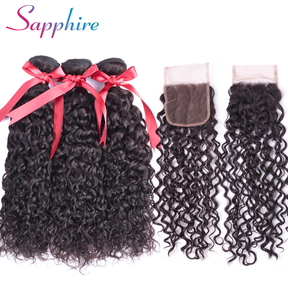 Sapphire Malaysian Water Wave Bundles With Closure Non-Remy Human Hair Bundles With Closure 4PCS/Lot Free Part
