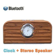 2016 NEW Clock Wooden Moveable Mini Bluetooth Audio system Wi-fi Good Palms Free Speaker With FM Radio Assist USB disk TF Card