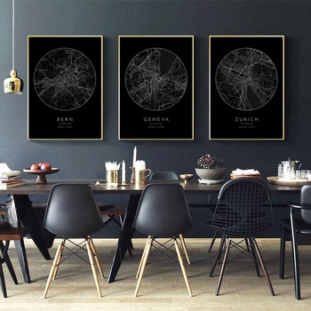 Czarny miasto i aktualną pogodę lub przeczytaj ostatnie szwajcaria berno genewa zurych na płótnie plakat na ścianę zdjęcia do salonu bez ramki