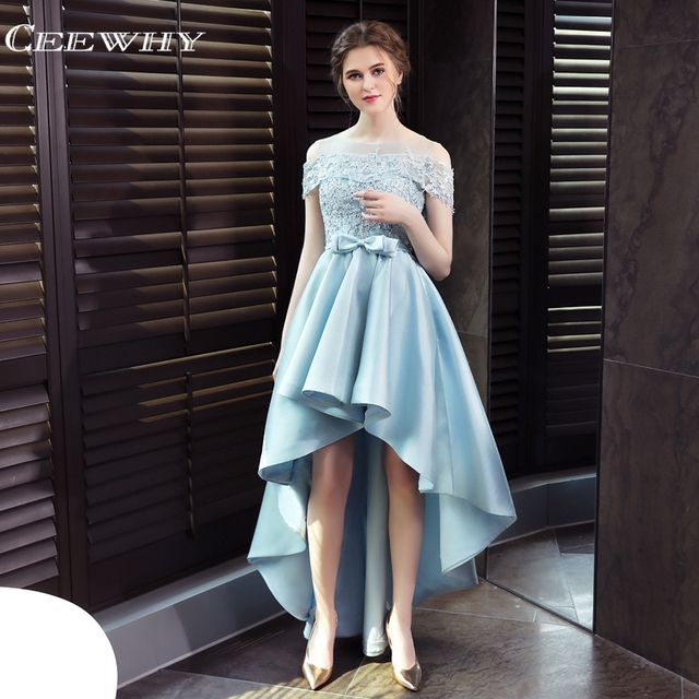 CEEWHY Light Blue High Low Dress Elegant Evening Dress Satin Lace Appliques  Prom Gown Luxury Bride Banquet Wedding Party Dresses 84e3cbbf242b