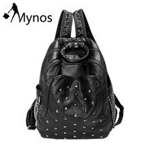 Mynos Soft Washed Leather Women Backpacks Girl School Bag for Teenager Girl Black Studded Rucksack Purse Sac Mochila Feminina