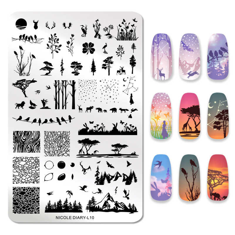 NICOLE DIARY Nail Stamping Plate  Animal Brird Flower Palm Tree Stamp Image Templates Printer Nail Art Stencil Plate Nails Tool
