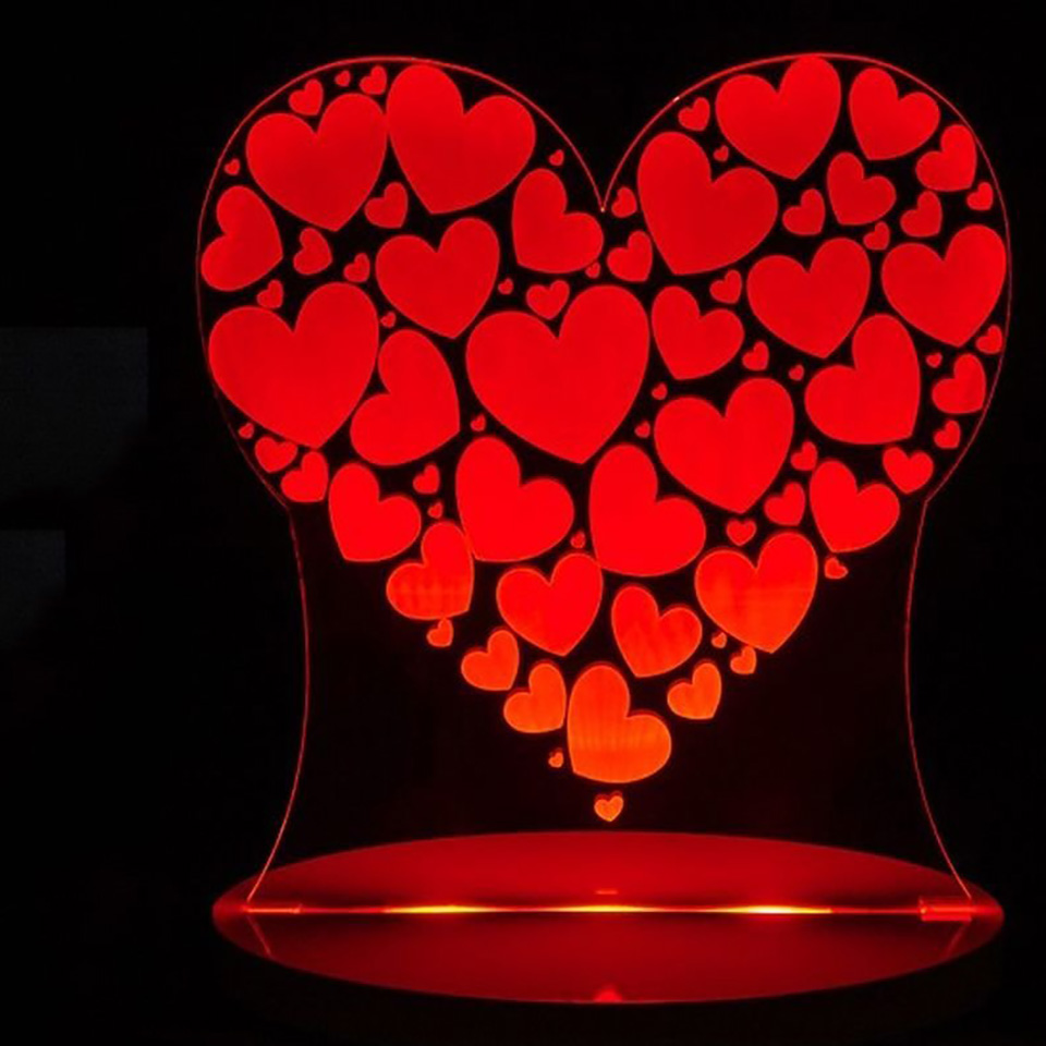 3D Visual 7 Colors Change Love Heart Shape Led Night Light For Kid Touch Button Usb Desk Lamp Romantic Home Decor Light Fixtures 3d led night light gear love heart usb touch switch steampunk style heart table lamp luminaria de mesa home decor gift toy