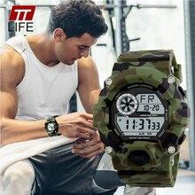 TTlife Hommes Étanche Armée Camouflage Militaire Montre Reloj LED Numérique Montres de Sport Relogio Masculino Esportivo Choc Horloge