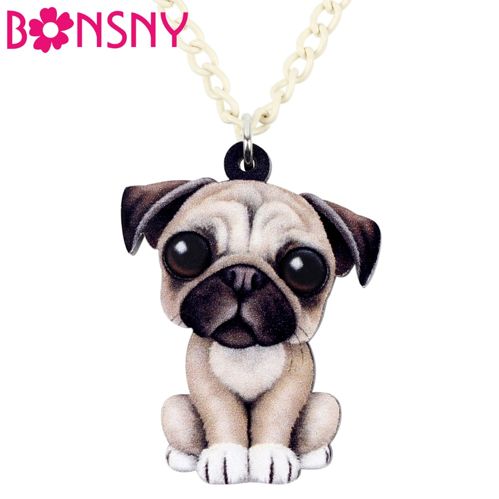 Acrylic Sweet Sitting French Pug Dog Necklace Pendant Chain Choker Cartoon Animal Jewelry For Women Girls Ladies