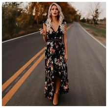Womens Sleeveless Long Party Dress Floral Print Embroidered High-Low Hem Maxi Dress 2018 Laipelar недорого