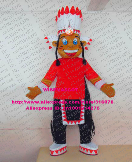 Naughty Brown American Indian Native Americans Mascot Costume Cartoon Character Mascotte Adult White High Hat Blue & Naughty Brown American Indian Native Americans Mascot Costume ...