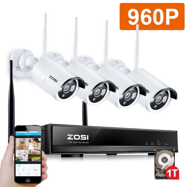 ZOSI 4CH CCTV System 960P NVR 4PCS 1.3 MP IR Outdoor P2P Wireless Wifi IP CCTV Camera Security System Surveillance Kit 1TB HDD