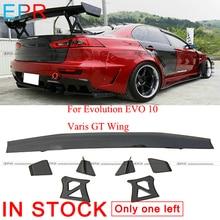 For Evolution EVO 10 Carbon Fiber Varis GT Wing For Mitsubishi Glossy Fiber Spoiler  Accessories цена