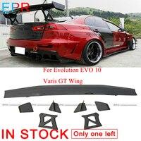 For Evolution EVO 10 Carbon Fiber Varis GT Wing For Mitsubishi Glossy Fiber Spoiler Accessories