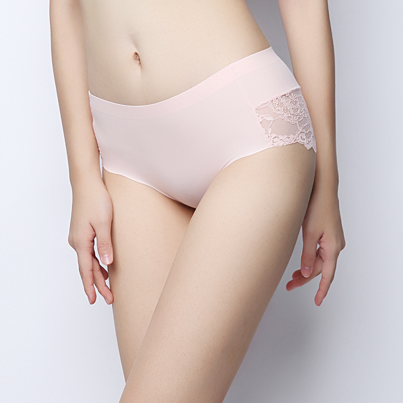 SEEDRULIA Sexy Women's   Panties   ice silk Intimates seamless Lace Underwear female Briefs