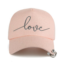 """Embroidered """"Love"""" Snapback Cap with Rings"""