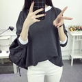 Kesebi 2017 Spring Summer Female Casual Loose Dark Gray Solid Tops Women Long Sleeved Korean Students T-shirts SJ1FA37#9026