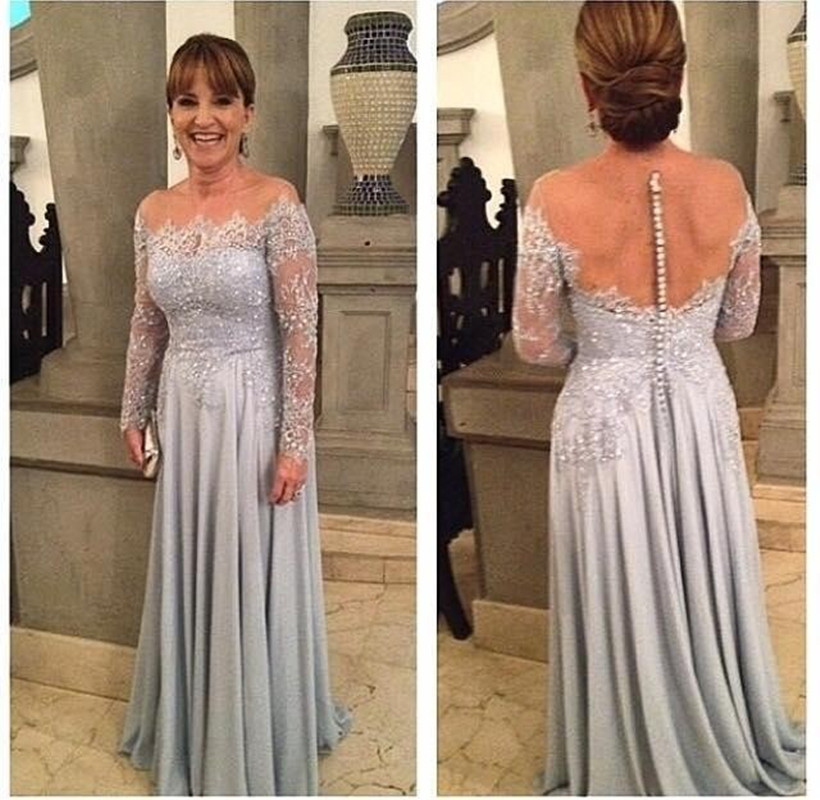 Hot Sale Silver A Line Mother Of The Bride Mother Dresses Long Sleeves Appliques Lace Beaded Nude Back Sheer Neck Prom Dress