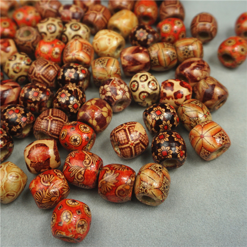 Phenovo 100 Pieces Mixed Printed Wood Beads Large Hole Bead Diy Jewelry Accessories Make Necklace Bracelet Macrame Craft Project Beads