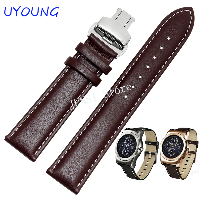22mm Genuine Leather Watchband Butterfly Buckle For LG G Watch W100 W110 Urbane W150 Band Strap Bracelet Strap Bracelet часы lg watch urbane w150 silver