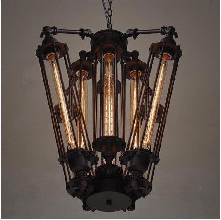 Işıklar ve Aydınlatma'ten Kolye ışıkları'de Vintage Kolye Işık Fikstürü Endüstriyel Edison Lamba Amerikan Metal RH LOFT Kahve Bar Restoran Mutfak 8 Işık Art Deco lamba title=