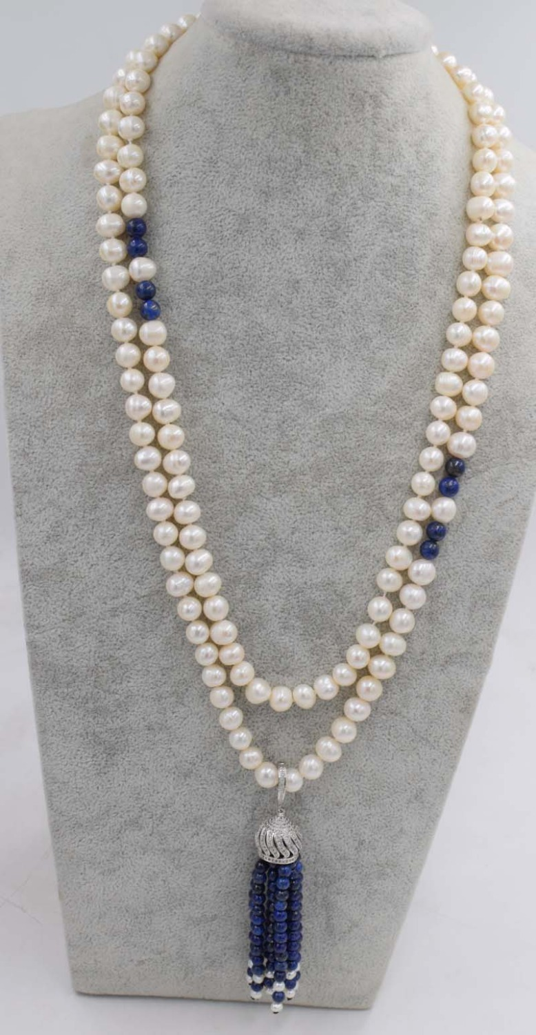 freshwater pearl near round white and blue lapis lazuli tassel 8-9mm necklace wholesale beads 45inch nature unique clasp great designer hand woven lapis lazuli pearl tassel earrings female blue simple london brand new indian jewelry ls07