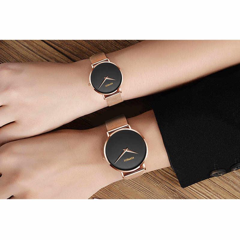Kopeck marka unikalne miłośnicy zegarki dla par zegarek ze stali nierdzewnej siatki mężczyzna kobiet kwarcowy szafirowe kryształ zegarek Paare Tabelle