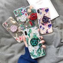 Luksusowy kwiat przezroczysty brokat diamentowy uchwyt miękkie etui dla iphone #8217 a x XR XS 11 Pro MAX 7 8 plus 6S dla samsung S10 S8 S9 uwaga tanie tanio Anti-knock Odporna na brud Aneks Skrzynki Apple iphone ów Iphone 6 Iphone 6 plus Iphone 6 s Iphone 6 s plus IPhone 7 IPhone 7 Plus