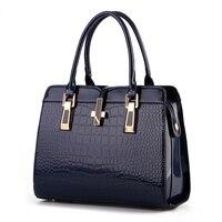 Bag Female 2017 New Bright Patent Leather Crocodile Pattern Fashion Shoulder Handbag Women Style European American