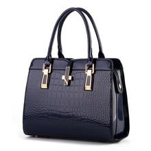 Tasche weibliche 2017 neuen hellen lackleder krokoprägung mode schulter handtasche frauen stil Europäische American style damen