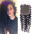 Free Shipping 8A Brazilian Lace Closure 4x4 Virgin kinky curly Closure,Human Hair curly Closure rose Free Middle 3 Part Closure