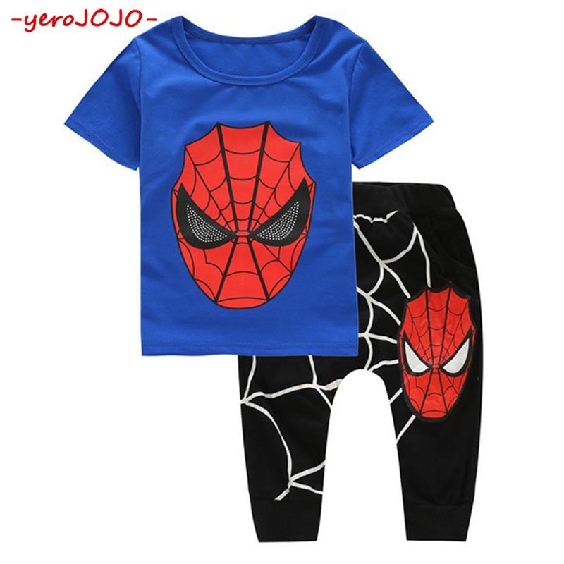 4 5 6 7 8 10 Years Boys Summer 2018 New Childrens Cotton Short-sleeved T-shirt Shorts 2Pcs Children Spiderman Sports Suit Set