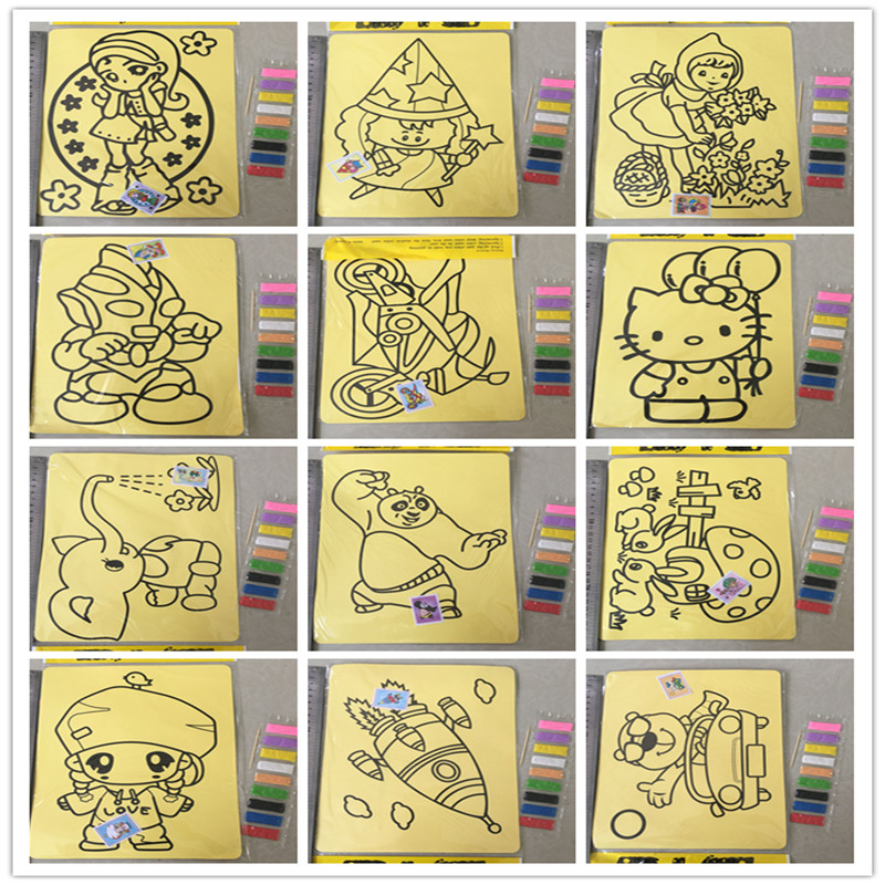 2721cm fashion 5pcs cartoon diy color sand painting patterns kids intelligence education tools art drawing study fun toys gift in drawing toys from toys