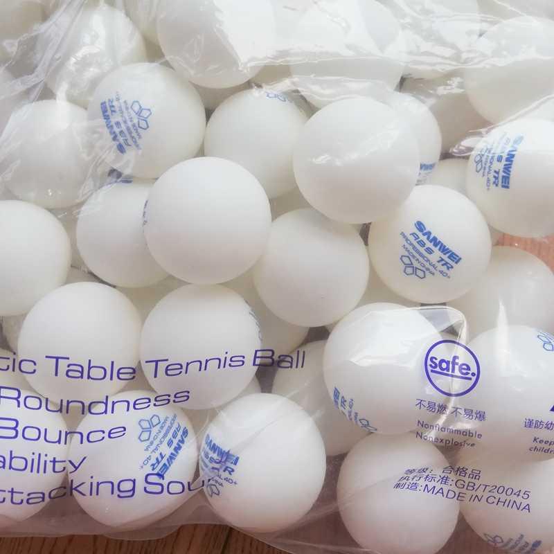 100 kulki SANWEI 3-gwiazda ABS 40 + 2019 nowa podkładka pod mysz piłka tenisowa zatwierdzony przez ITTF szkolenia nowy materiał z tworzywa sztucznego poli piłki do ping-ponga