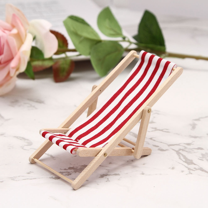 Mini Beach Lounge Chair Miniature Chairs Garden Decoration Furniture Folding Stripe Deck Diy Home Decor In Toys From Hobbies On