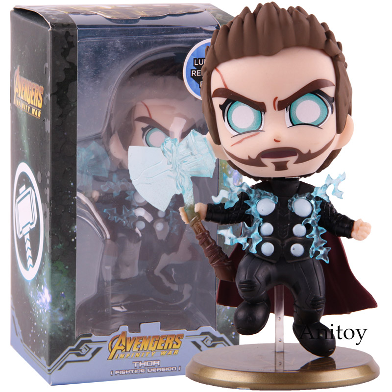 Hot Toys Cosbaby Marvel Avengers Infinity War Thor Fighting Version PVC Bobble Head Action Figure Collectible Model Toy