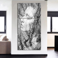 Modern Minimalist HD Print Abstract Figure Pop Art 3 Pcs White Black Forest Mother Wall Paintings