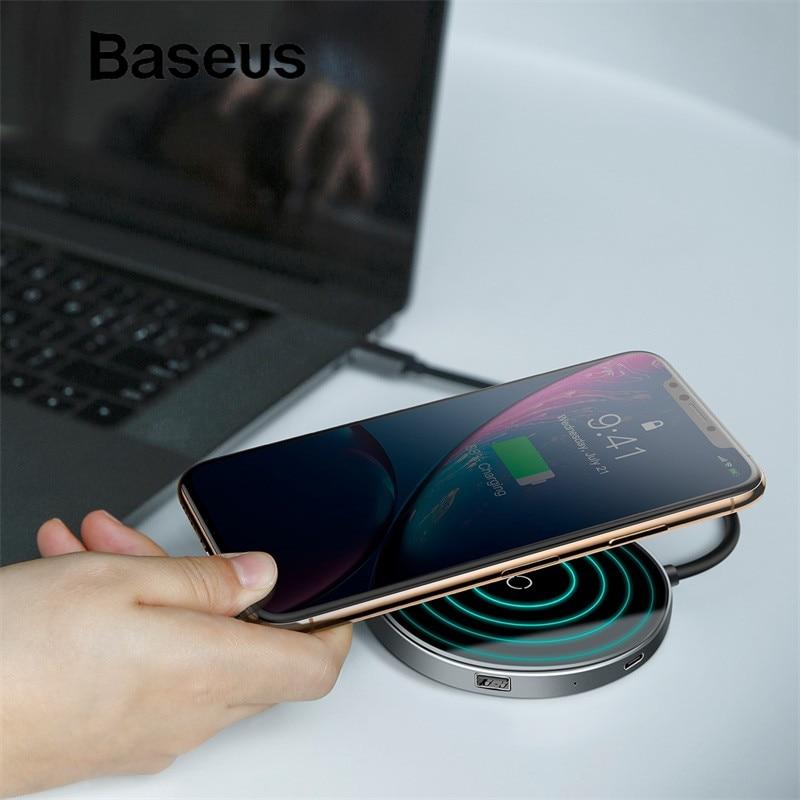 Baseus Qi Беспроводной Зарядное устройство для iPhone X Тип usb C концентратор USB 3,0/USB для Macbook Pro концентратора адаптер Fast Зарядное устройство для samsung...