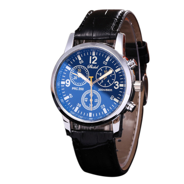 Hot Sales Three Eyes Pu Leather Watches Men Fashion Military Sports Quartz Wrist